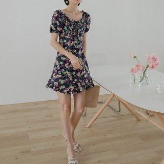 花柄 プリーツ ショート ワンピース フリル 半袖 ドレス 女性 夏 東大門 レディース