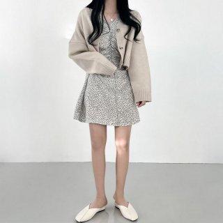 Vネック ワンピース 花柄 春 ドレス フローラル Aライン レディース