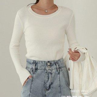 ニット セーター シンプル 軽い 繊維 レディース