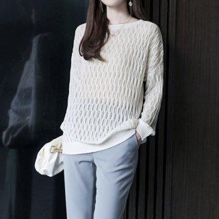 セーター レディース ニット 透かし編み 薄手 無地 長袖 ゆったり ラウンドネック