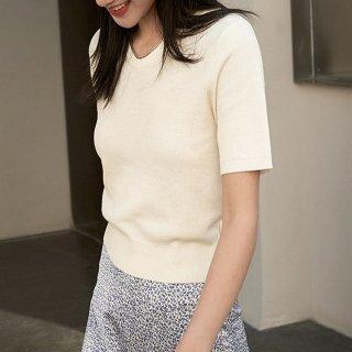 ショート ニット Vネック 半袖 プルオーバー Tシャツ レディース