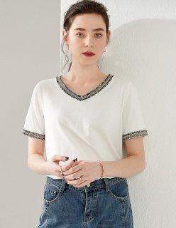 Vネック Tシャツ 半袖 レディース 白 春 夏 カジュアル インナー カットソー