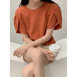 花びら袖トップス レディース 無地 半袖 Tシャツ