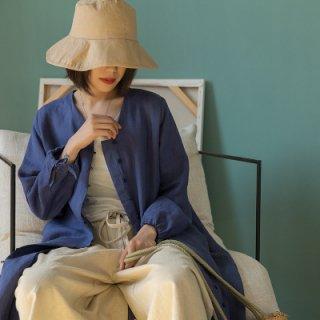 シンプル ロング コットン シャツ カーディガン ドレス レディース