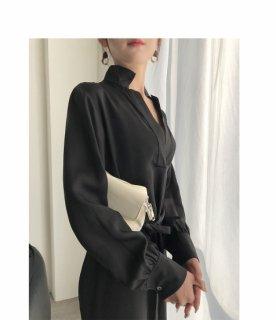 Vネック エレガント レディース ブラック ドレス ワンピース