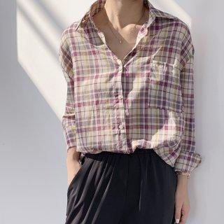 XIAOMI&YINUO コットン チェックシャツ レディース 長袖 薄手 軽い ルーズフィット BIGシャツ ゆったり