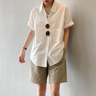 YANSOO コットン100% レディース カジュアル 襟付きシャツ 半袖 春夏秋