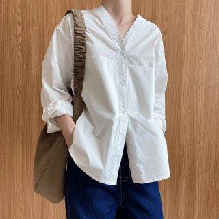 LUXI ポケット付きシャツ トップス シンプル カジュアル レディース