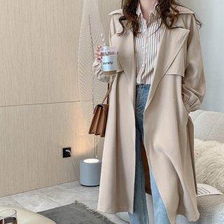 トレンチコート アウター コート ロングコート 3色展開 裏地付 オフィス 通勤スタイル ベーシック カジュアル ライトアウター