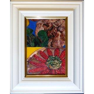 横尾美美「Red Paprika」現代アート 絵画 額付 油彩画