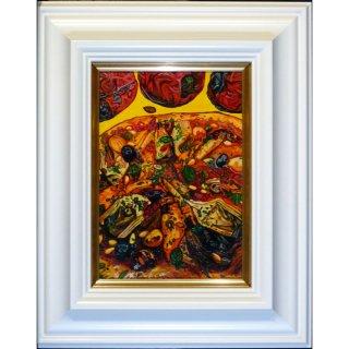 横尾美美「Pizza」現代アート 絵画 額付 油彩画