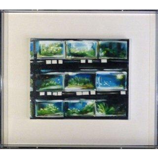 リサ・ミルロイ「Aquariums」現代アート 絵画 額付 油彩画