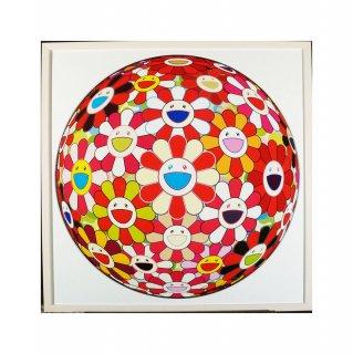 村上隆「フラワーボール 金魚色 3D」絵画 額付 版画