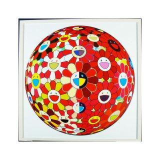 村上隆「フラワーボール レッド 3D 魔笛」絵画 額付 版画