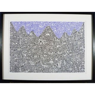 Mr Doodle ミスタードゥードゥル「Mountain Mania」絵画 額付 版画 ジークレー<img class='new_mark_img2' src='https://img.shop-pro.jp/img/new/icons30.gif' style='border:none;display:inline;margin:0px;padding:0px;width:auto;' />