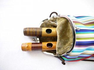 オリジナル笛袋 がま口タイプ「しましま」