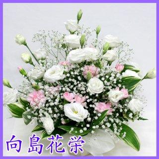 【供花】ホワイト&ピンクのお供えアレンジメント