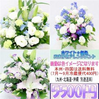 23.供花 ホワイト+各色 お供え用おまかせアレンジメント5,500円