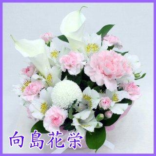 【供花】カラーとピンクカーネーションの明るい感じのお供えアレンジメント