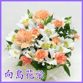(供花)オレンジカーネーションとホワイト アルストロメリアのお供えアレンジメント