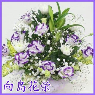 【供花】菊とトルコキキョウのお供えアレンジ