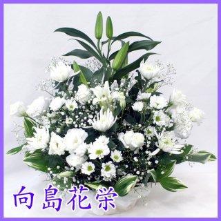 【供花】白ユリと白菊のお供えアレンジ