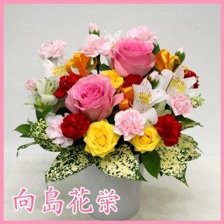 (誕生日・お祝い)ピンクバラが入ったミックスアレンジメント