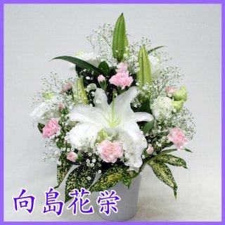 【供花】ユリとかすみ草のお供え花(ピンク)