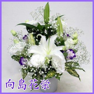 【供花】白ユリ・トルコキキョウ・かすみ草のお供え花