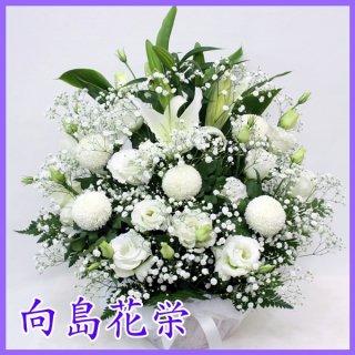 【供花】白ユリとピンポン菊のお供え花アレンジメント