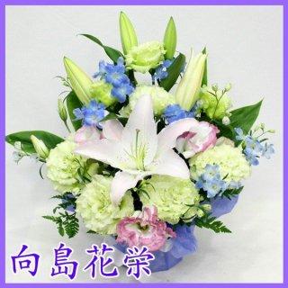〔供花〕 ユリの淡い感じのお供えアレンジメント