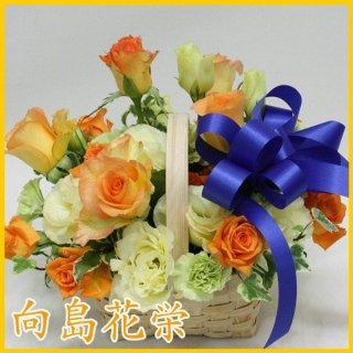 (誕生日・お祝い)オレンジバラとブルーリボンのアレンジ