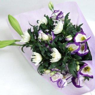 【供花】菊とトルコキキョウのお供え花束