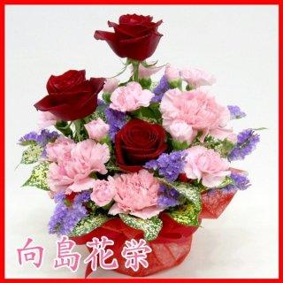 【誕生日・お祝い】赤バラとカーネーションのアレンジメント