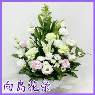 (供花)白ユリとトルコキキョウの清楚な感じのお供え花