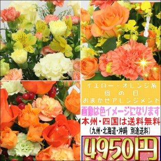サンクスママ・母の日 オレンジ・イエロー系おまかせアレンジメント4,950円