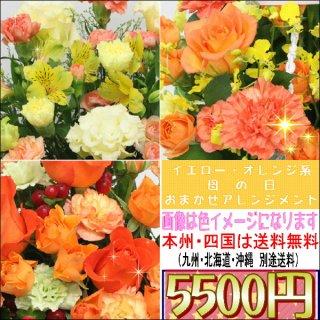 サンクスママ・母の日 オレンジ・イエロー系おまかせアレンジメント5,500円