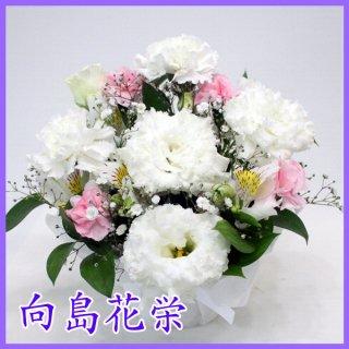 【供花】ホワイト・ピンクの可愛いお供えアレンジメント