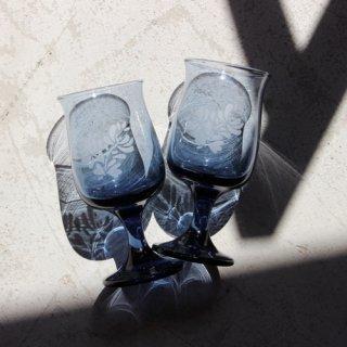 vintage blue glass/ビンテージ ブルー グラス 花柄(568A3)