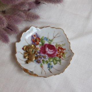 vintage flower mini plate/ビンテージ 陶器花柄 小皿 ミニプレート(B)(637A3)
