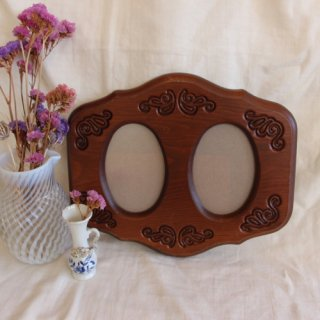 vintage wood photo frame/ビンテージ写真入れ 額(471A2)