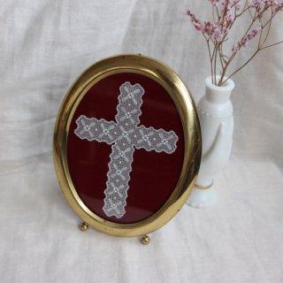 vintage cross motif frame deco/十字架モチーフ フォトフレーム 壁掛け(304B1)