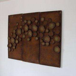 vintage 3 pieces metal wall deco/ビンテージ ウォールデコ/壁掛け(313A1)