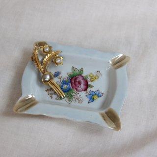 vintage Flower ash tray/ビンテージ陶器アッシュトレイ/灰皿(362B1)