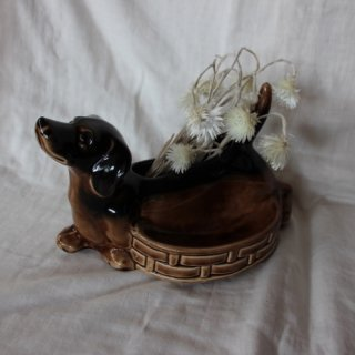 vintage dog flower vase/ビンテージ 犬 モチーフ 花瓶 オブジェ(500A3)