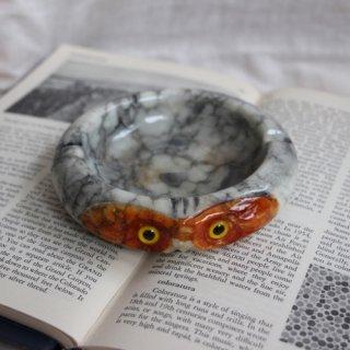 vintage owl stone ash tray/フクロウモチーフ大理石アッシュトレー/灰皿(302B1)