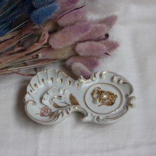 vintage mini plate rose/ビンテージ 陶器 小皿 ミニプレート(658A3)