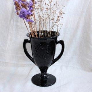 1930's Black milk glass flower vase/ガラスフラワーベース/花瓶(305A1)