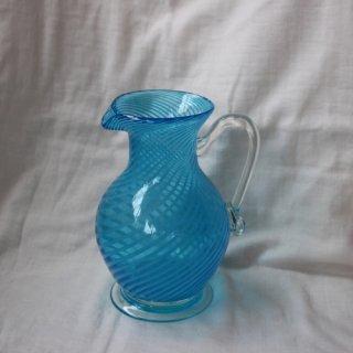 Vintage blue glass flower vase/ビンテージ フラワーベース ピッチャー(524A3)