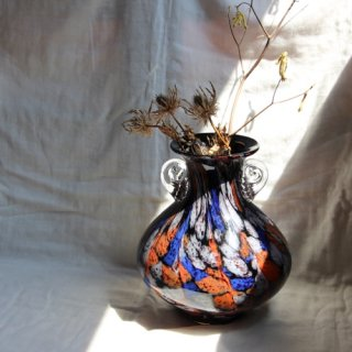 Vintage glass flower vase/ビンテージ ガラス フラワーベース/花器/花瓶(700)